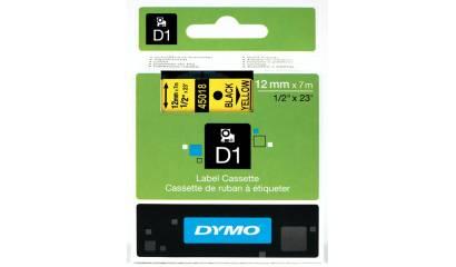 Taśma DYMO 12mm/7m czarno/żółta 45018