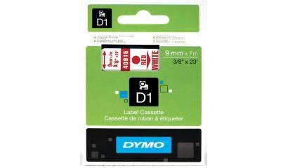 Taśma DYMO 9mm x 7m czerwono/biały 40915