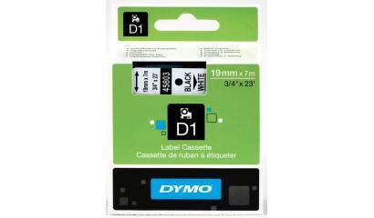 Taśma DYMO 19mm/7m czarno/biała 45803