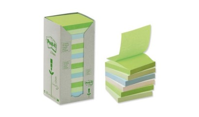 Bloczki ekologiczne 3M Post-it Z-notes 76x76mm pastelowe klorowe 16 szt x 100 kartek R330-1RPT