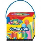 Kreda kolorowa Jumbo kartonowe pudełko z rączką 15szt.