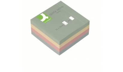 Bloczek samoprzylepny Q-CONNECT kostka 76x76mm 4 kol. (400k) pastel KF01347
