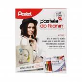 Zestaw kreatywny PENTEL Pastele do tkanin (7kol.)+ długopis BN15 czarny+torba