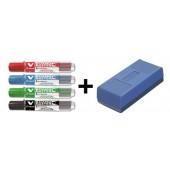 Marker suchościeralny PILOT V-Board Master kpl. 4 kolory + gąbka