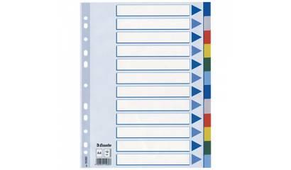Przekładki PP ESSELTE A4 12 kolorów 15262