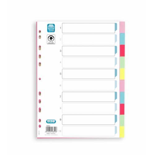 Przek³adki kartonowe ELBA A4 10 kolorów 6050