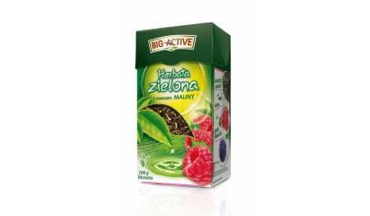 Herbata liściasta BIG-ACTIVE zielona z maliną (100g)