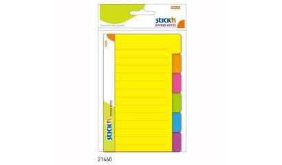 Przekładki samoprzylepne Stick'n. Neon 100 x 150 mm, 6 kol. indeksów 21460