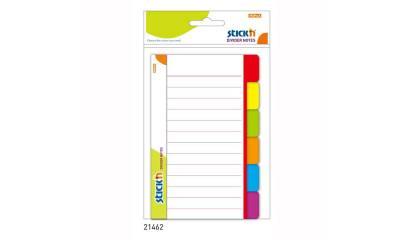 Przekładki samoprzylepne Stick'n Białe 100 x 150mm, 6 kol. indeksów 21462