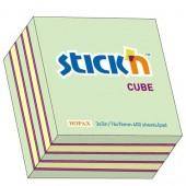 Notes samoprzylepny STICK'N Kostka 76x76mm 400 karteczek Mix (n.niebieski,n.pomarań,n.żółty,n.zielony,biały) 21342 / 21538