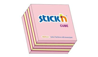 Notes samoprzylepny STICK'N Kostka 76x76mm 400 karteczek Mix (n.zielony,n.żółty,n.różowy,n.fioletowy,biały) 21537
