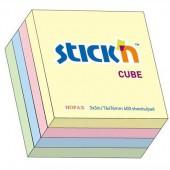 Notes samoprzylepny STICK'N Kostka 76x76mm 400 karteczek Mix pastelowy (zielony / niebieski / różowy / żółty) 21013
