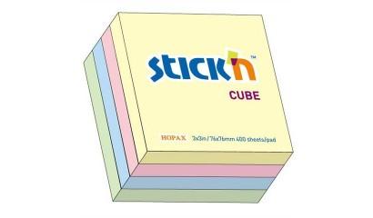 Notes samoprzylepny STICK'N Kostka 76x76mm 400 karteczek Mix pastelowy (zielony/niebieski/różowy/żółty) 21013