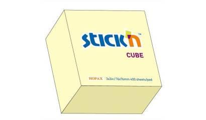 Notes samoprzylepny STICK'N Kostka 76x76mm 400 karteczek żółty pastelowy 21072