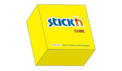 Notes samoprzylepny STICK'N Kostka 76x76mm 400 karteczek żółty neonowy 21010