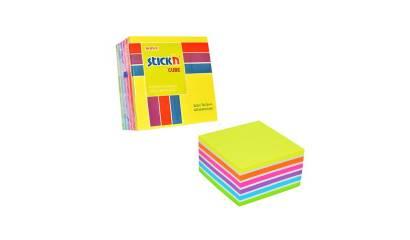 Notes samoprzylepny STICK'N Kostka 76x76mm 400 karteczek Mix (n.żółty,n.pomarań,n.fioletowy,n.niebieski,n.zielony,biały) 21539