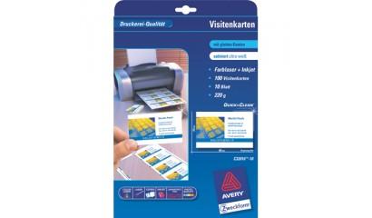 Karton wizytówkowy ZF Avery 85x54 matowy dwustr. biały 260g (10ark.) C32015-10