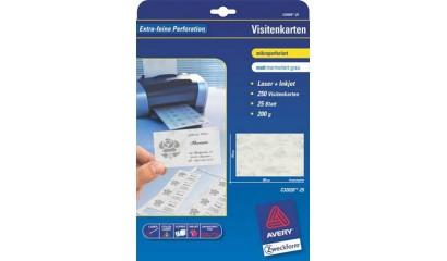 Karton wizytówkowy ZF Avery 85x54 matowy jednostr. biały 200g (25ark.) C32020-25