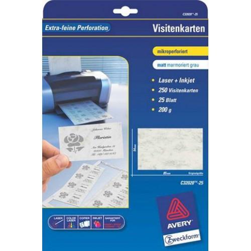 Karton Wizytówkowy Zf Avery 85x54 Matowy Jednostr Biały